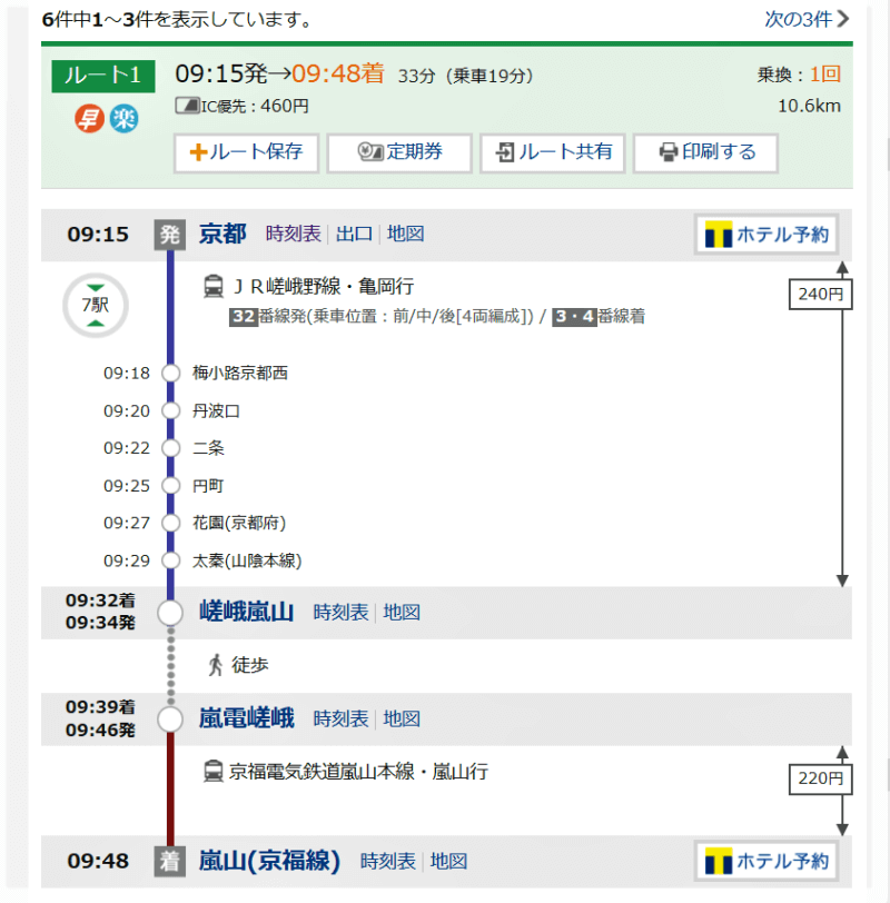 京都駅から嵐山駅の乗り換え案内